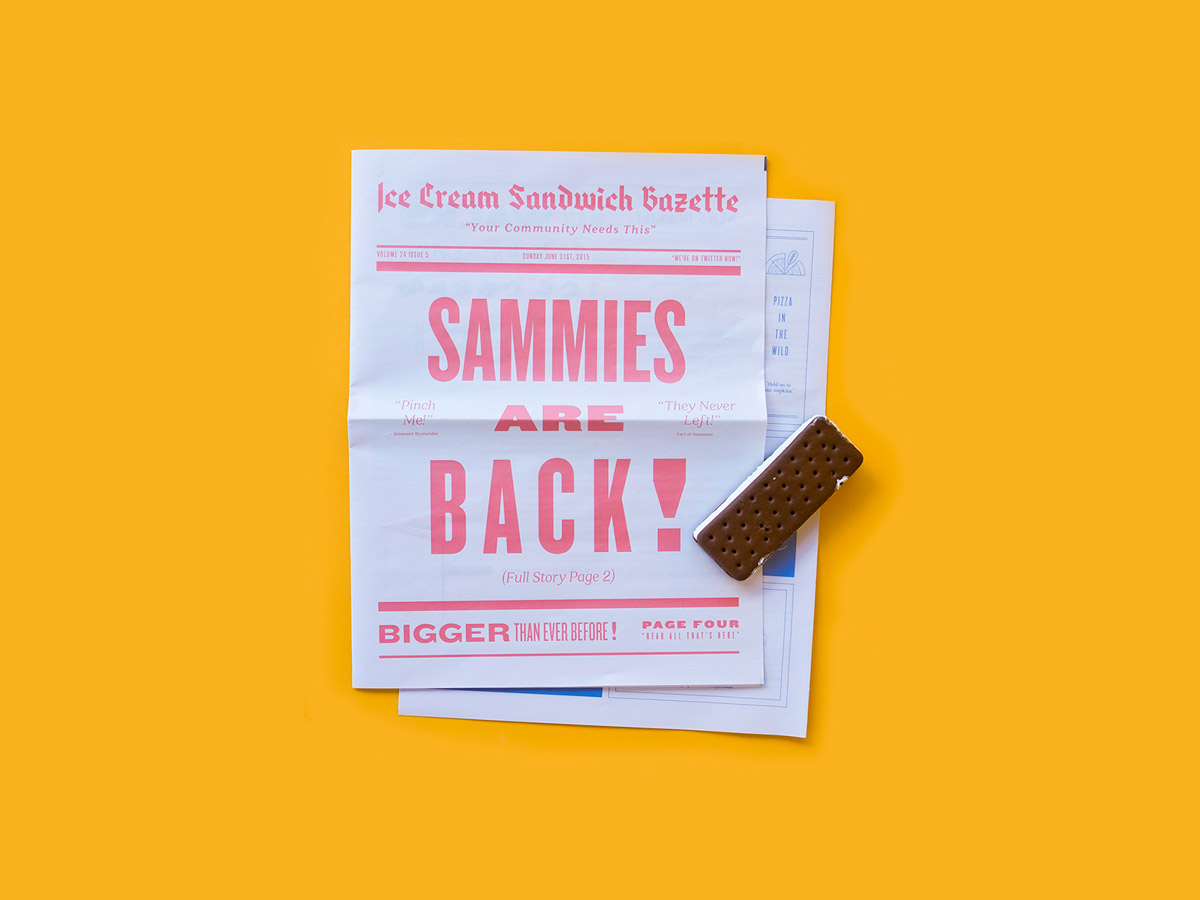 Image of ice cream sandwich next to a newspaper with the headline 'Sammies are back'