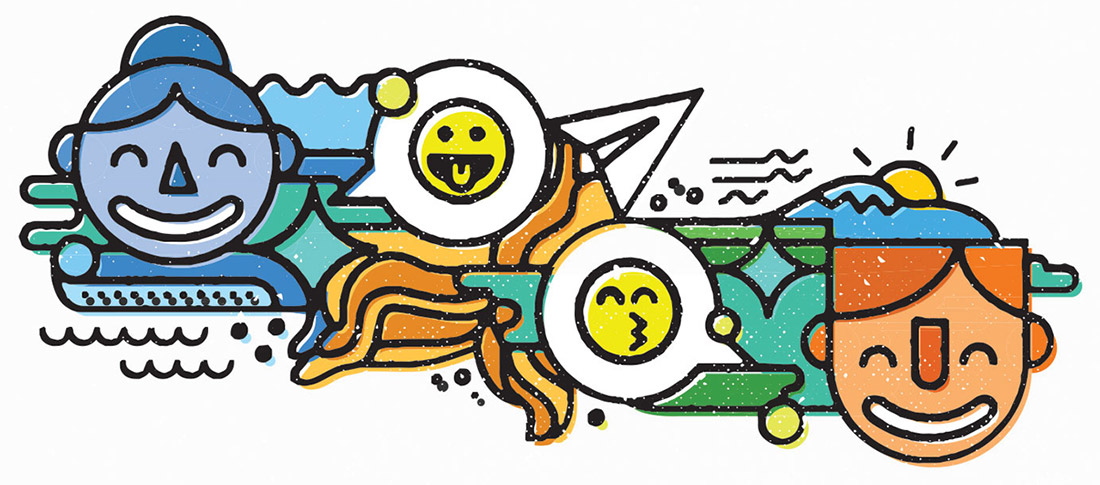 Illustration by Tim Lampe of happy smiley faces