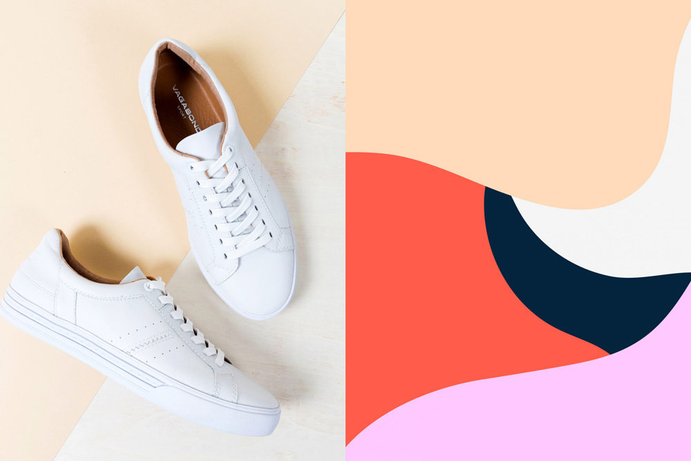Image of sneakers branding next to an abstract image of bright colors
