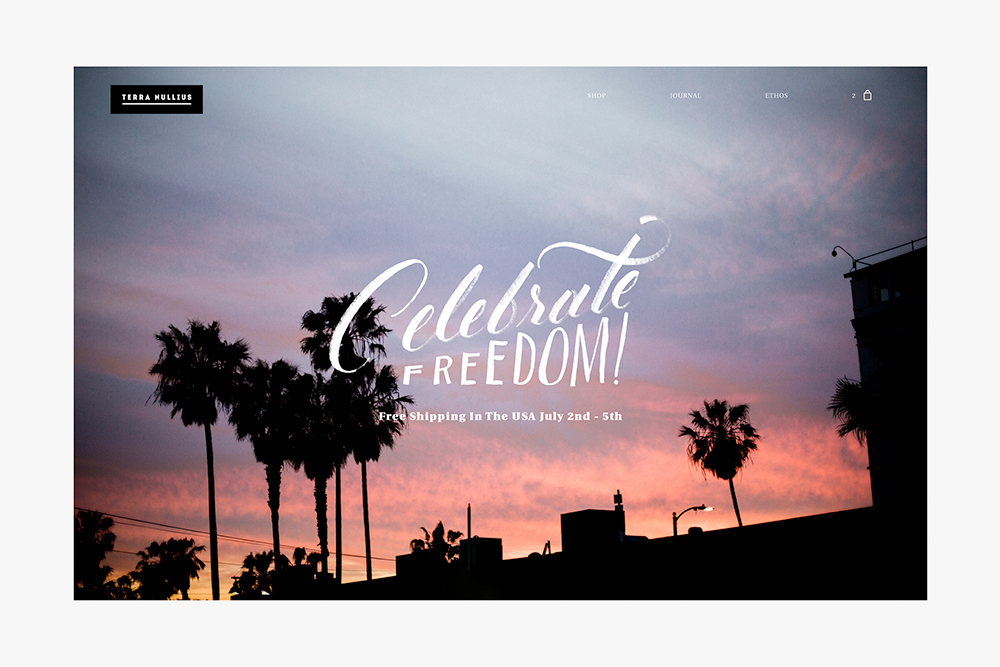 Image of sunset with lettering over it saying 'Celebrate Freedom'