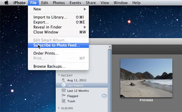 "Use ""Subscribe to Photo Feed"" in iPhoto to sync your photos from Dropmark"