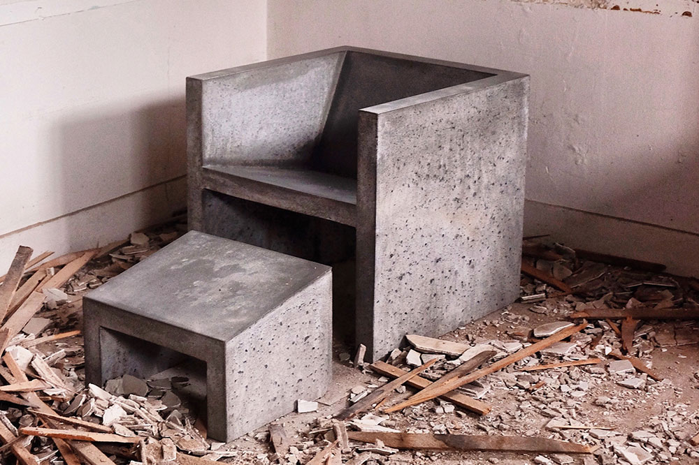 Image of chair made out of concrete