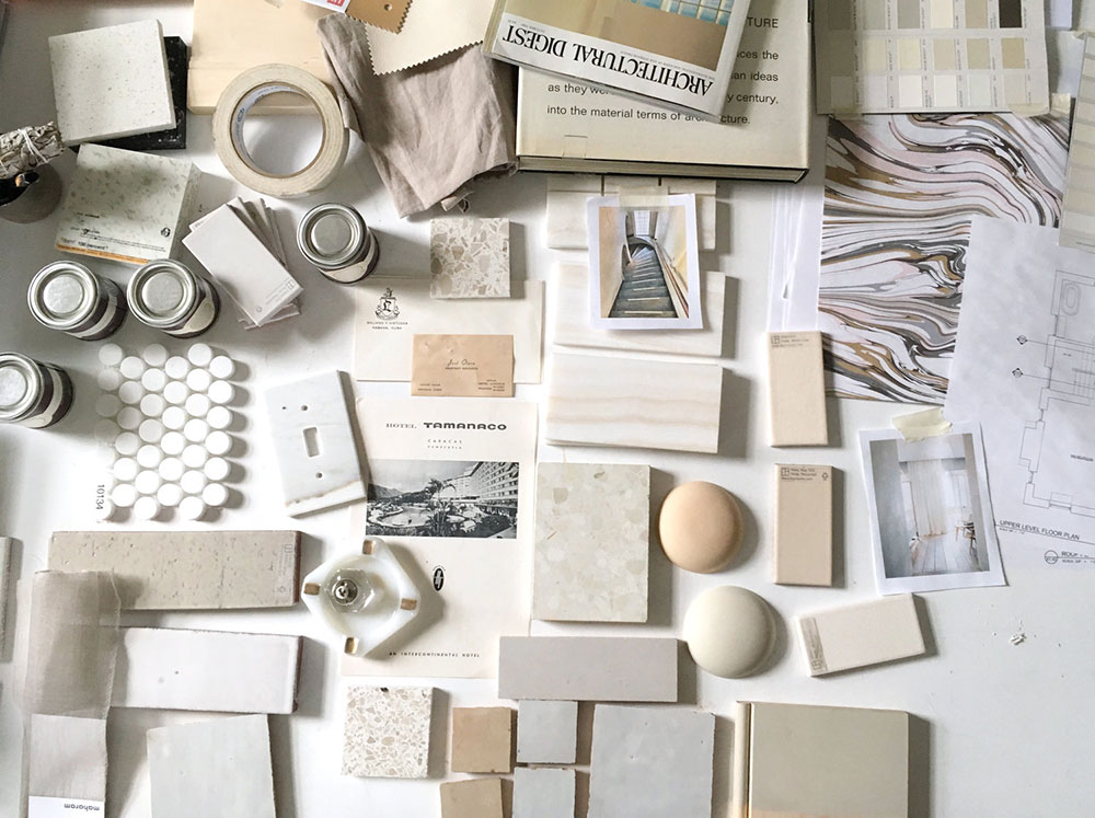 Image of decorating and painting supplies and samples in creams and whites