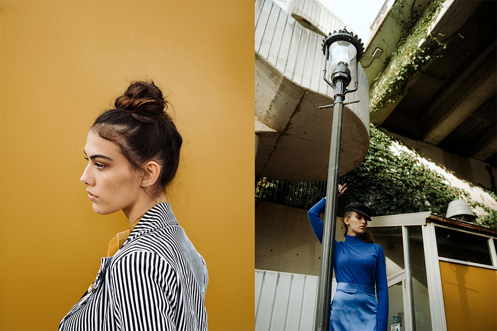 Image of a female model in striped shirt, and image of female model leaning against lampost