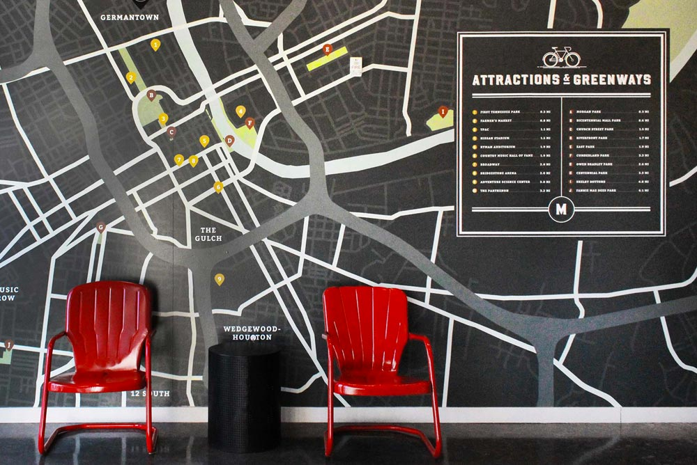 Image of a map mural for a building full of local hotspots