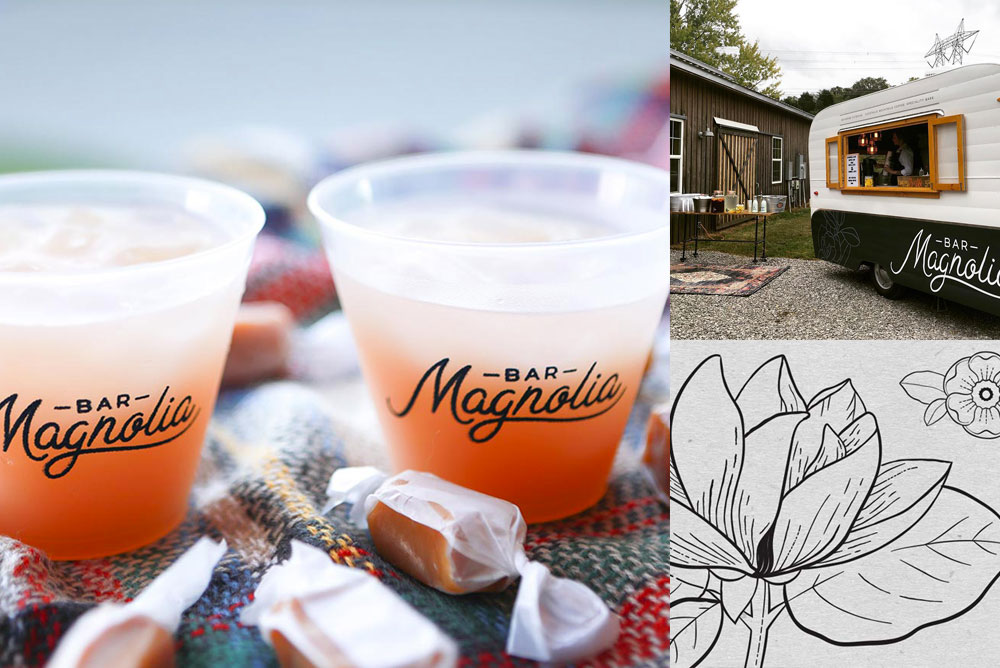 Image of branding for Magnolia Bar including cocktails and a cute moveable bar