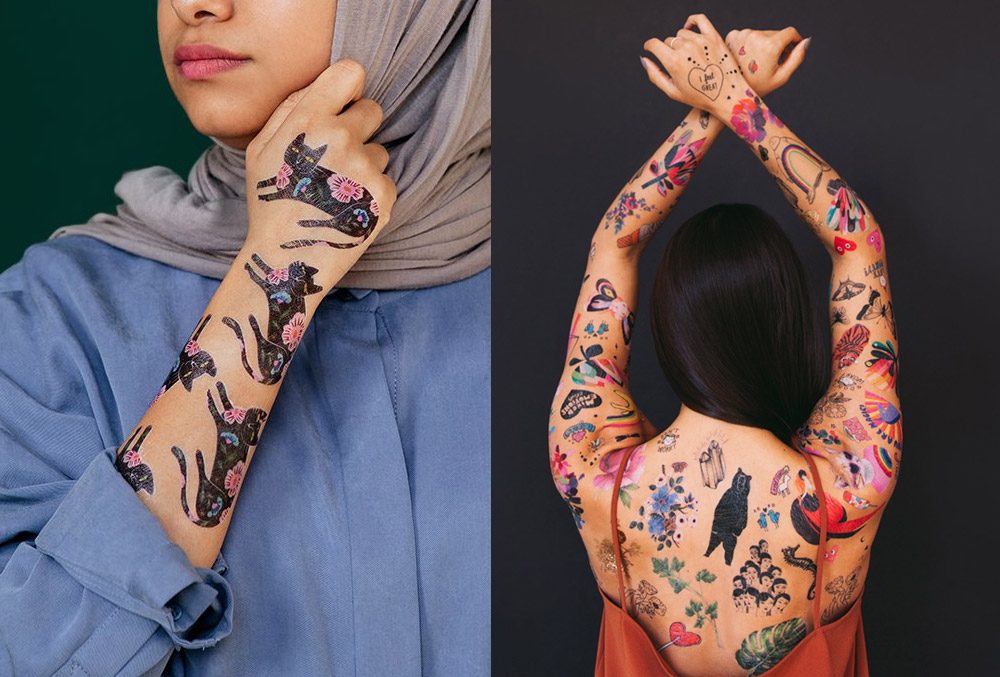 Image of a woman in a hijab, wearing cat Tattlys alongside a woman with her arms and back covered in temporary tattoos